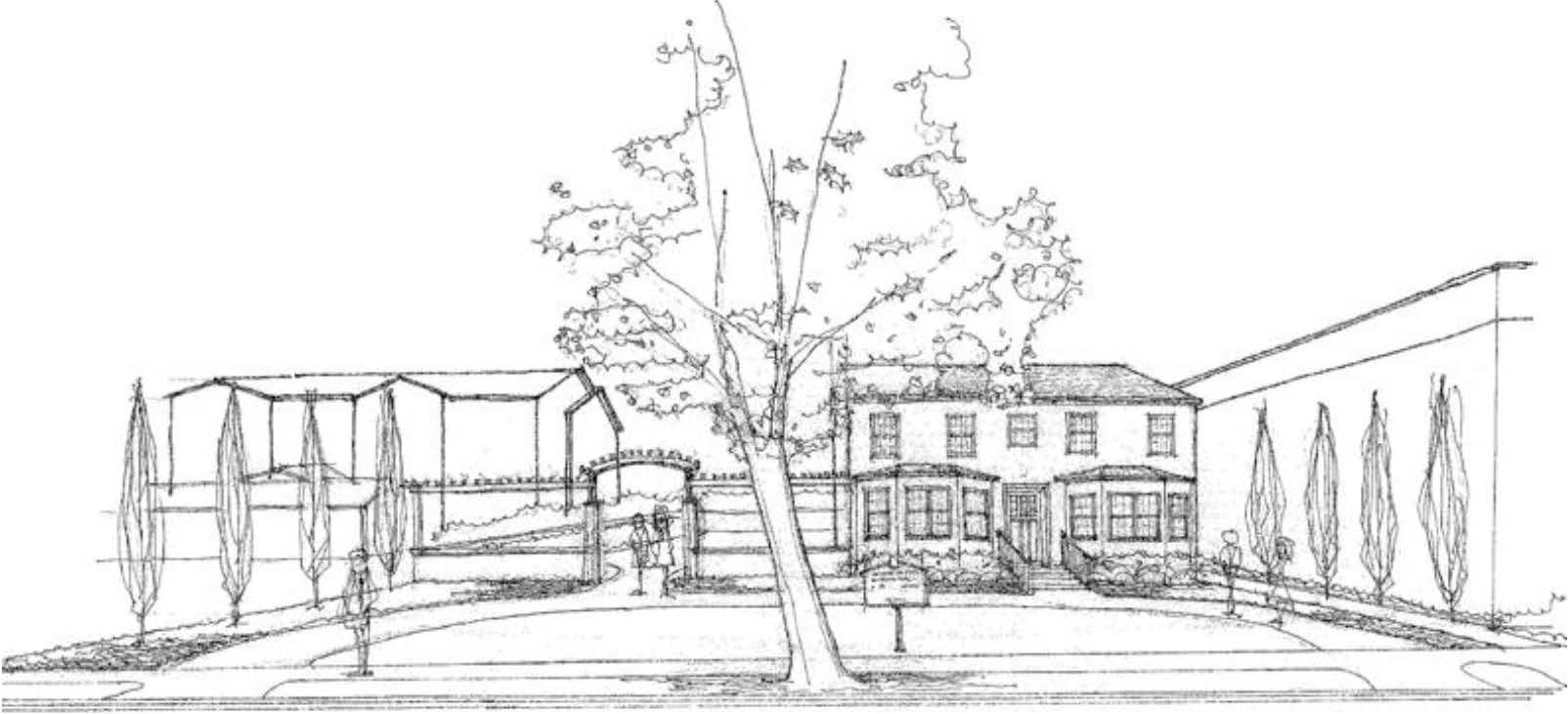 The Ballard House Architectural Sketch Front View By Barrett Architecture