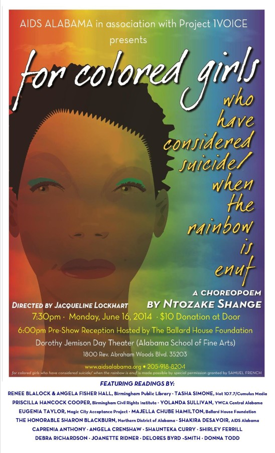 Event Sponsorships: For Colored Girls Community Choreodrama by AIDS Alabama / June, 2014